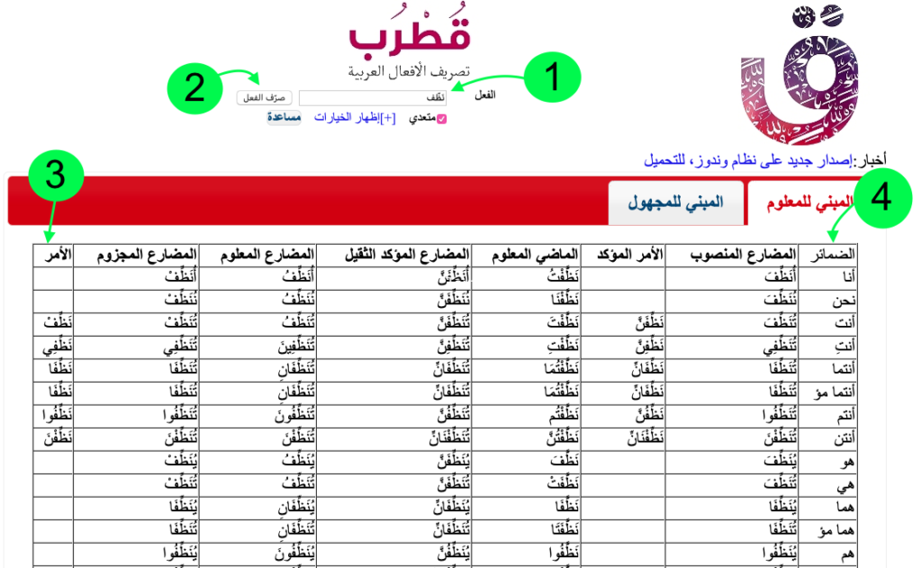 how to use Arabic conjugation online tool