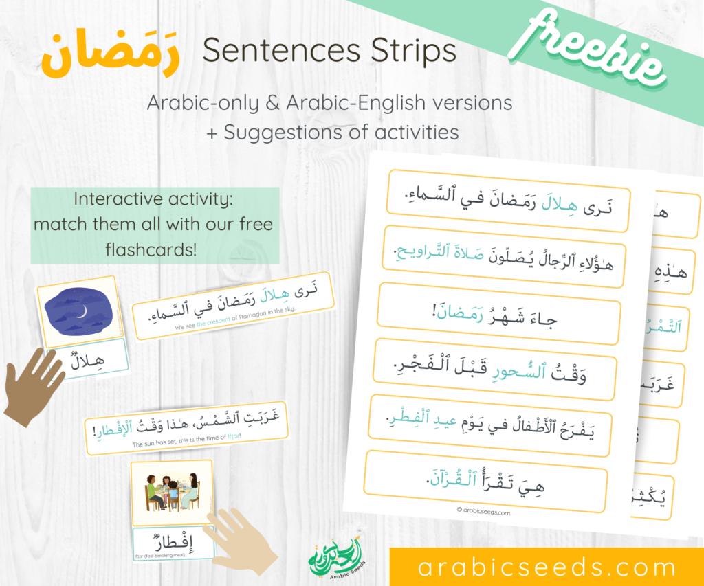 Free Arabic Ramadan themed Sentence Strips - Arabic Seeds printable freebies