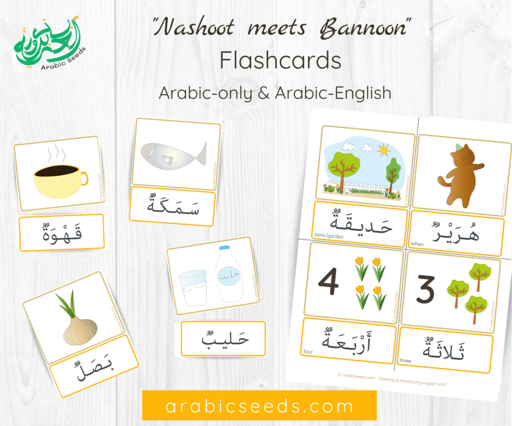 Arabic Flashcards - Nashoot and Bannoon story - Arabic Seeds printables