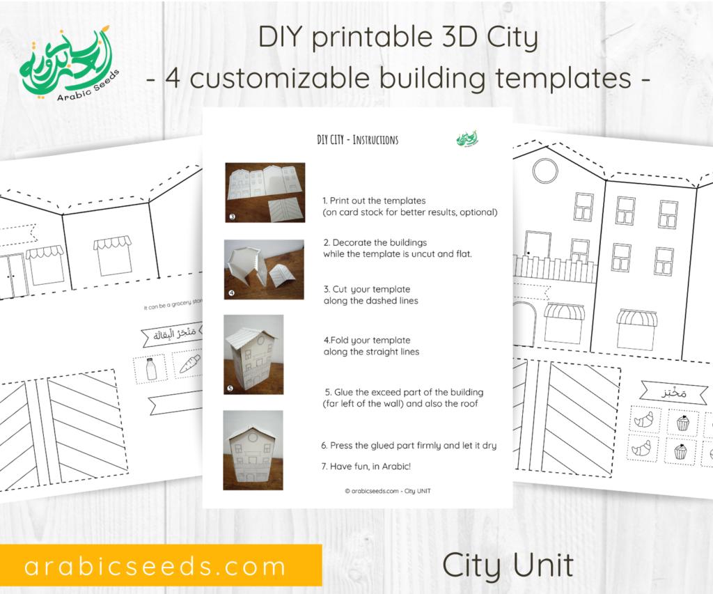 Arabic 3D City DIY printable - city themed unit - Arabic Seeds