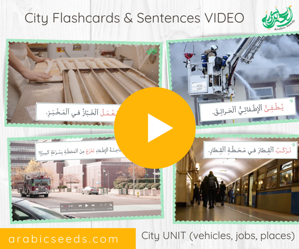 Arabic City flashcards and sentences video - City Arabic themed unit vehicles, jobs, places - Arabic Seeds