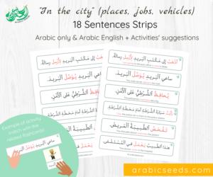 Arabic City theme Sentences Strips - places jobs vehicles - Arabic Seeds printables