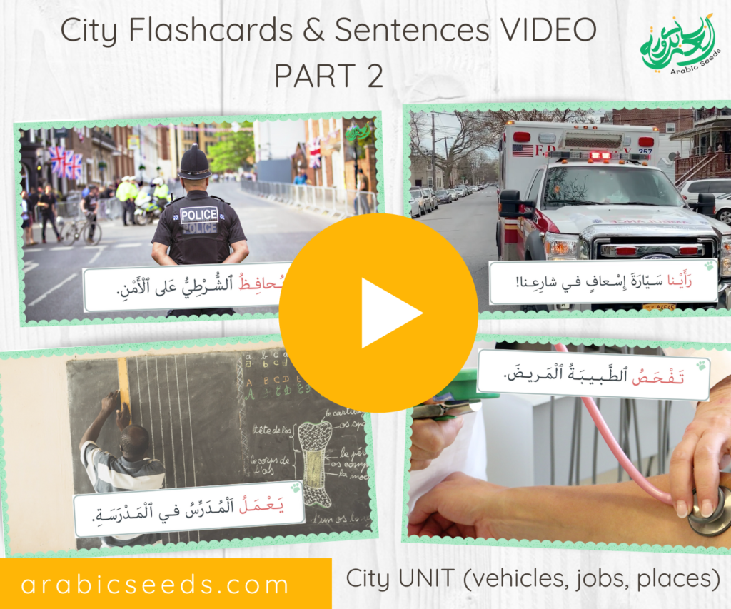 Arabic City flashcards and sentences Video part 2 - City Arabic themed unit vehicles, jobs, places - Arabic Seeds