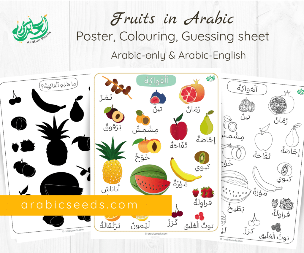 Arabic Fruits poster, colouring, guessing activity - Arabic Seeds printables